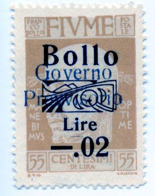 PPMHP 114575: Riječka poštanska marka s likom Gabriela D'Annunzia korištena kao biljeg