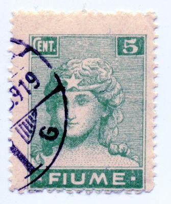 PPMHP 114598: Riječka poštanska marka vrijednosti 5 centesima – prvo izdanje redovnih maraka