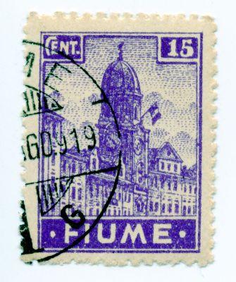 PPMHP 114600: Riječka poštanska marka vrijednosti 15 centesima – prvo izdanje redovnih maraka