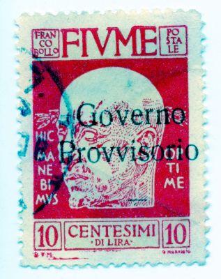 PPMHP 114587: Riječka poštanska marka s likom Gabriela D'Annunzia vrijednosti 10 centesima