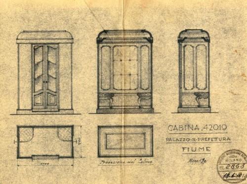 PPMHP 125113: Cabina 42019, Palazzo R. Prefettura, Fiume • Projekt kabine lifta