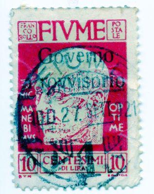 PPMHP 114588: Riječka poštanska marka s likom Gabriela D'Annunzia vrijednosti 10 centesima