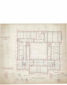 PPMHP 125160: Nacrt međukatne konstrukcije s uzdužnim i poprečnim presjekom nosača • Guvernerova palača u Rijeci Prvi kat • A Fiumei Kormanyzo Palotaja Elso  Emelet