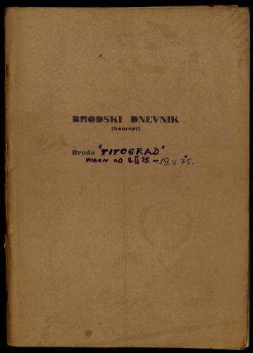 PPMHP 114426: Brodski dnevnik motornog broda Titograd