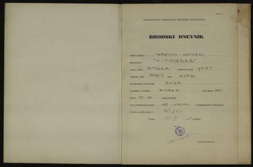 PPMHP 114427: Brodski dnevnik motornog broda Titograd