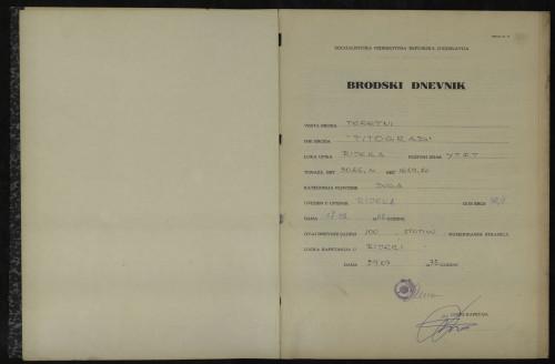 PPMHP 114429: Brodski dnevnik motornog broda Titograd